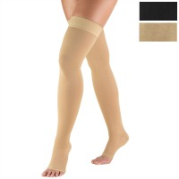 0868 / THIGH HIGH, SILICONE DOT TOP, OPEN TOE / 20-30 MMHG