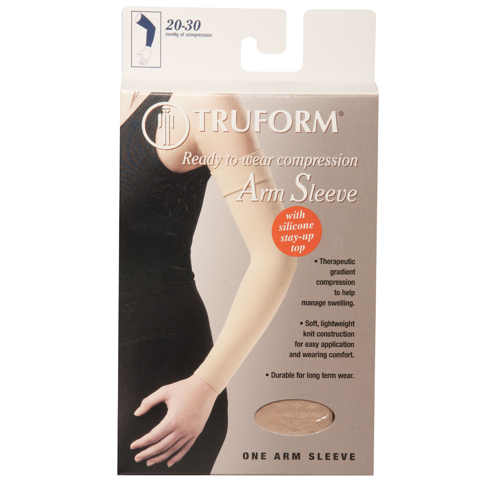 Truform, 3326, 20-30 mmHg, Ready-To-Wear, Silicone Dot-Top, Arm Sleeve, Package