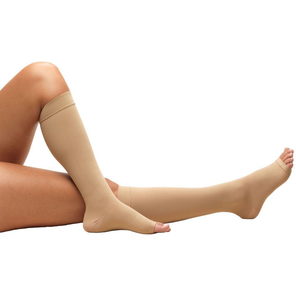Truform, 0808s, 18 mmHg, Anti-Embolism, Open Toe, Knee High, Short Length, Stockings, Beige