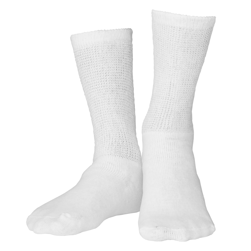 Truform, 1918, Diabetic Crew Length, Loose Fit Top, White, Socks