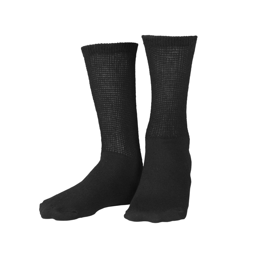 Truform, 1918, Diabetic Crew Length, Loose Fit Top, Black, Socks