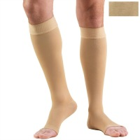 0844 / KNEE HIGH SILICONE DOT TOP, OPEN TOE / 30-40 MMHG