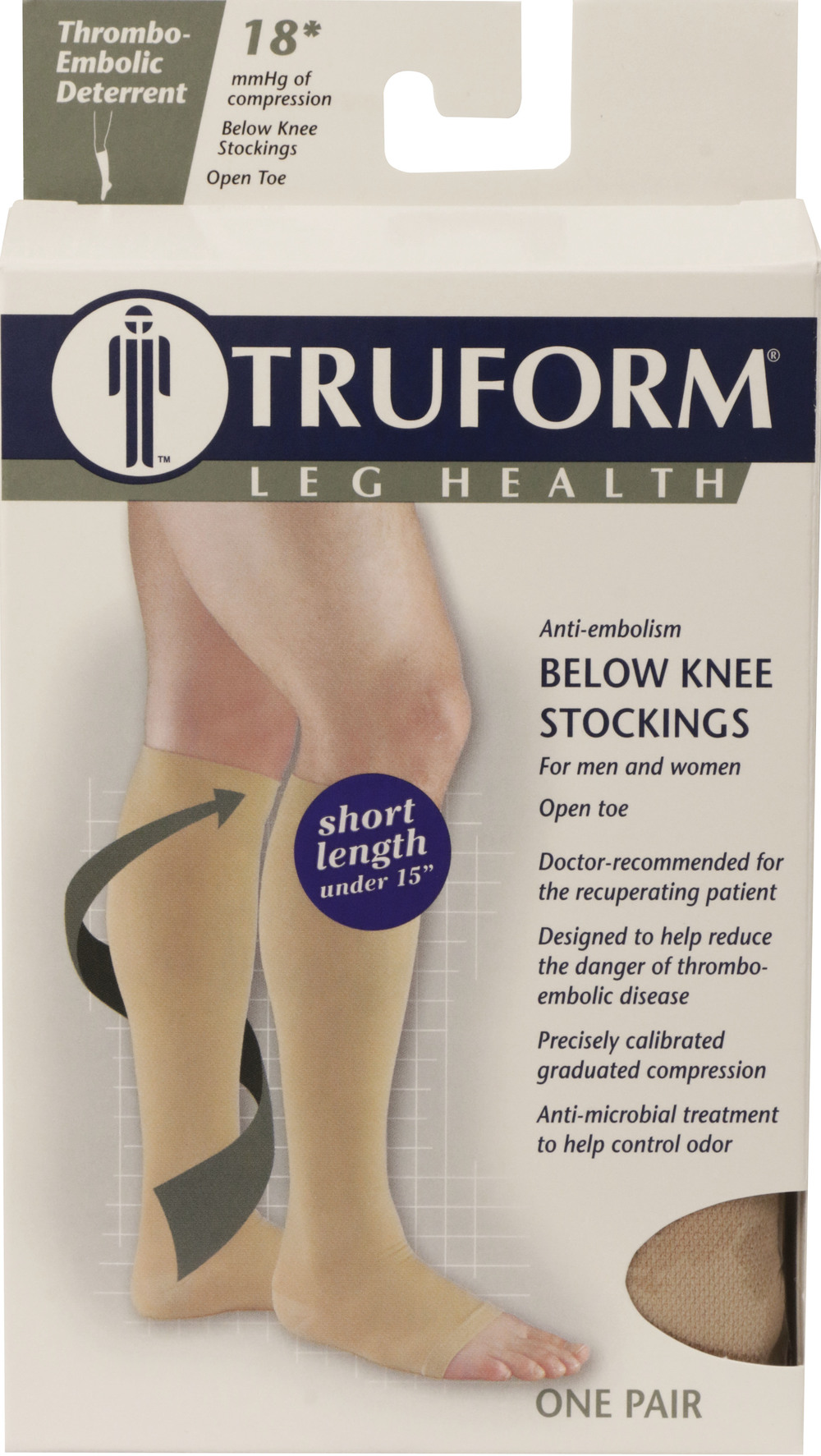 Truform, 0808s, 18 mmHg, Anti-Embolism, Open Toe, Knee High, Short Length, Stockings, Package
