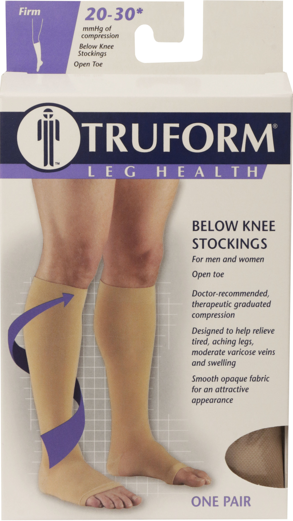 Truform, 0865, 20-30 mmHg, Soft Top, Open Toe, Knee High, Stockings, Package