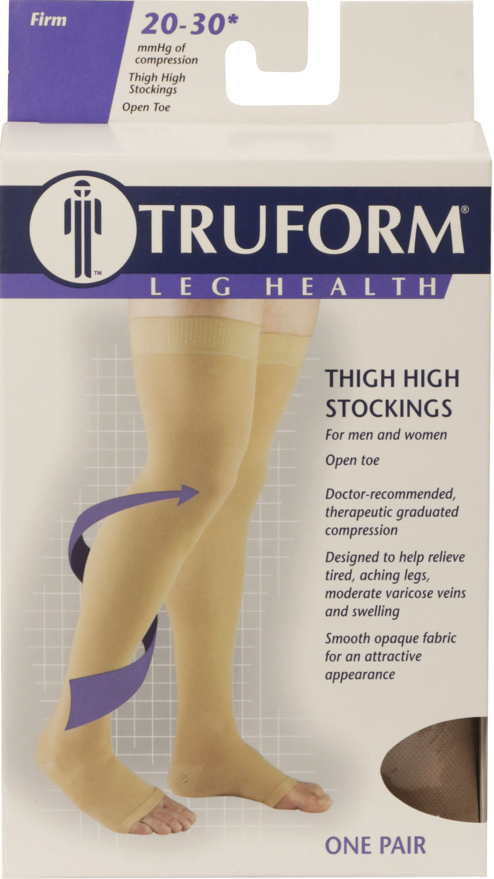Truform, 0868, 20-30 mmHg, Thigh High, Silicone Dot Top, Open Toe, Stockings, Package