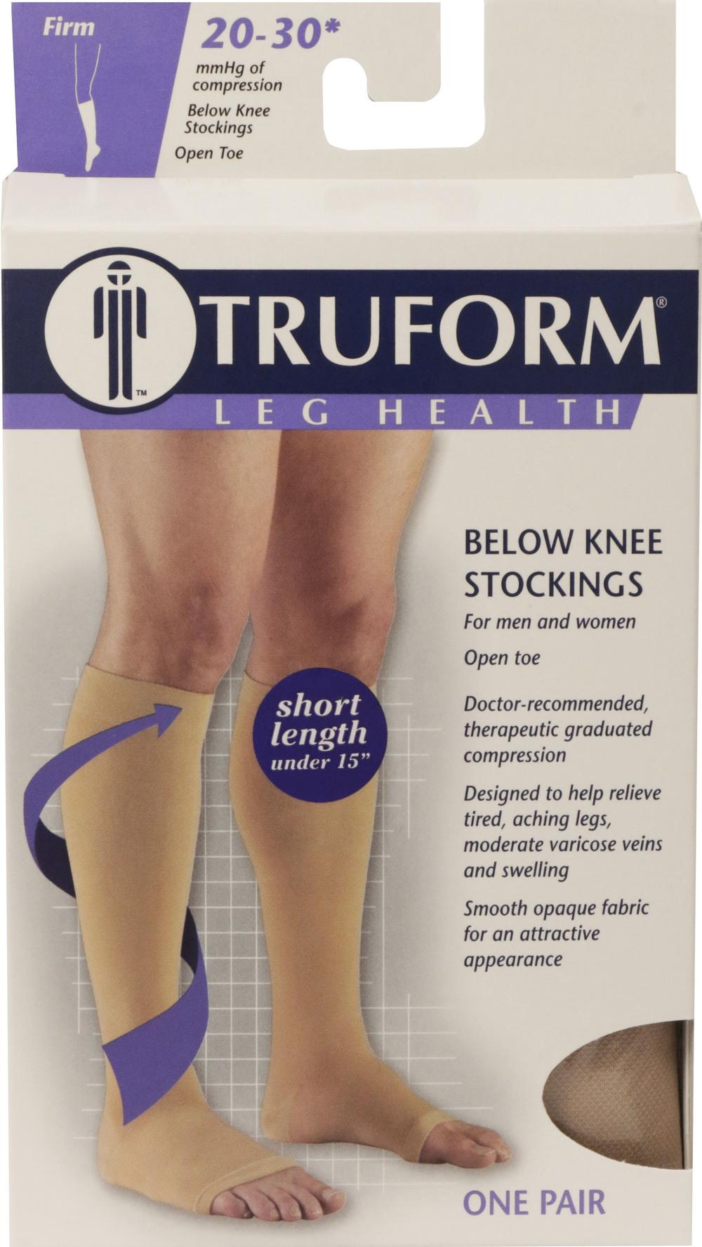 Truform, 0865s, 20-30 mmHg, Soft Top, Open Toe, Knee High, Short Length, Stockings, Package