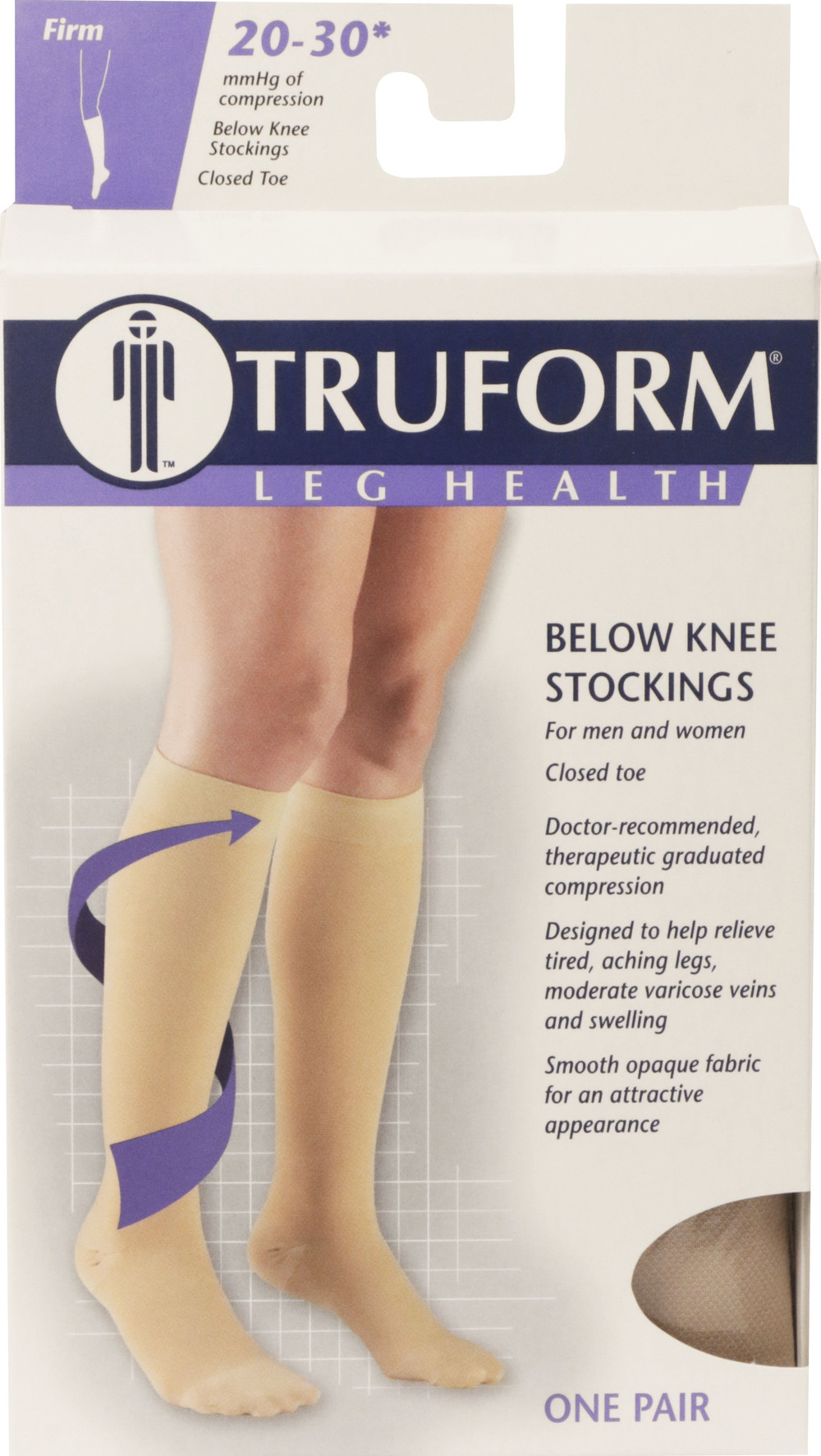 Truform, 8865, 20-30 mmHg, Soft Top, Closed Toe, Knee High, Stockings, Package