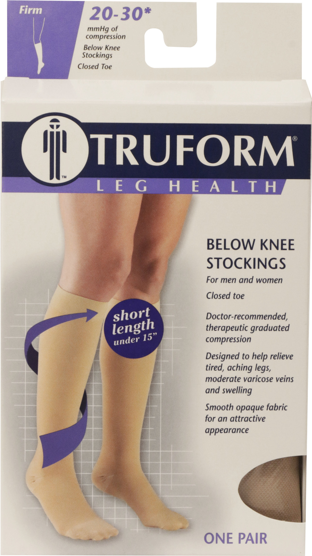 Truform, 8865s, 20-30 mmHg, Soft Top, Closed Toe, Short Length, Knee High, Stockings, Package