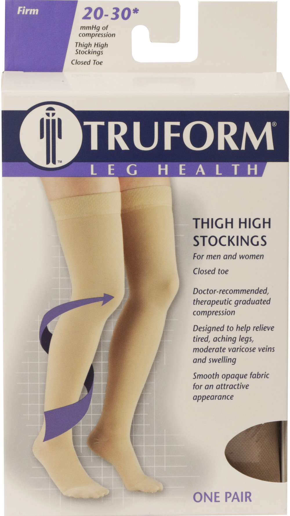 Truform, 8868, 20-30 mmHg, Thigh High, Silicone Dot Top, Closed Toe, Stockings, Package