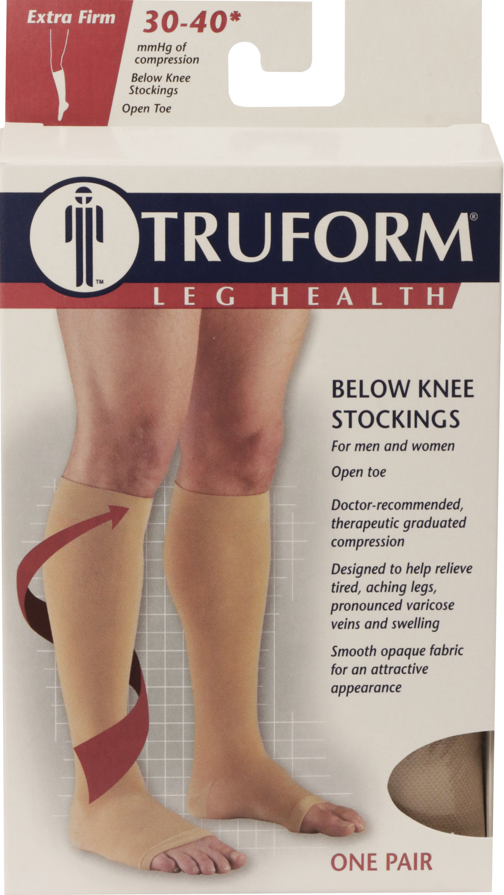 Truform, 0845, 30-40 mmHg, Knee High, Soft Top, Open Toe, Package