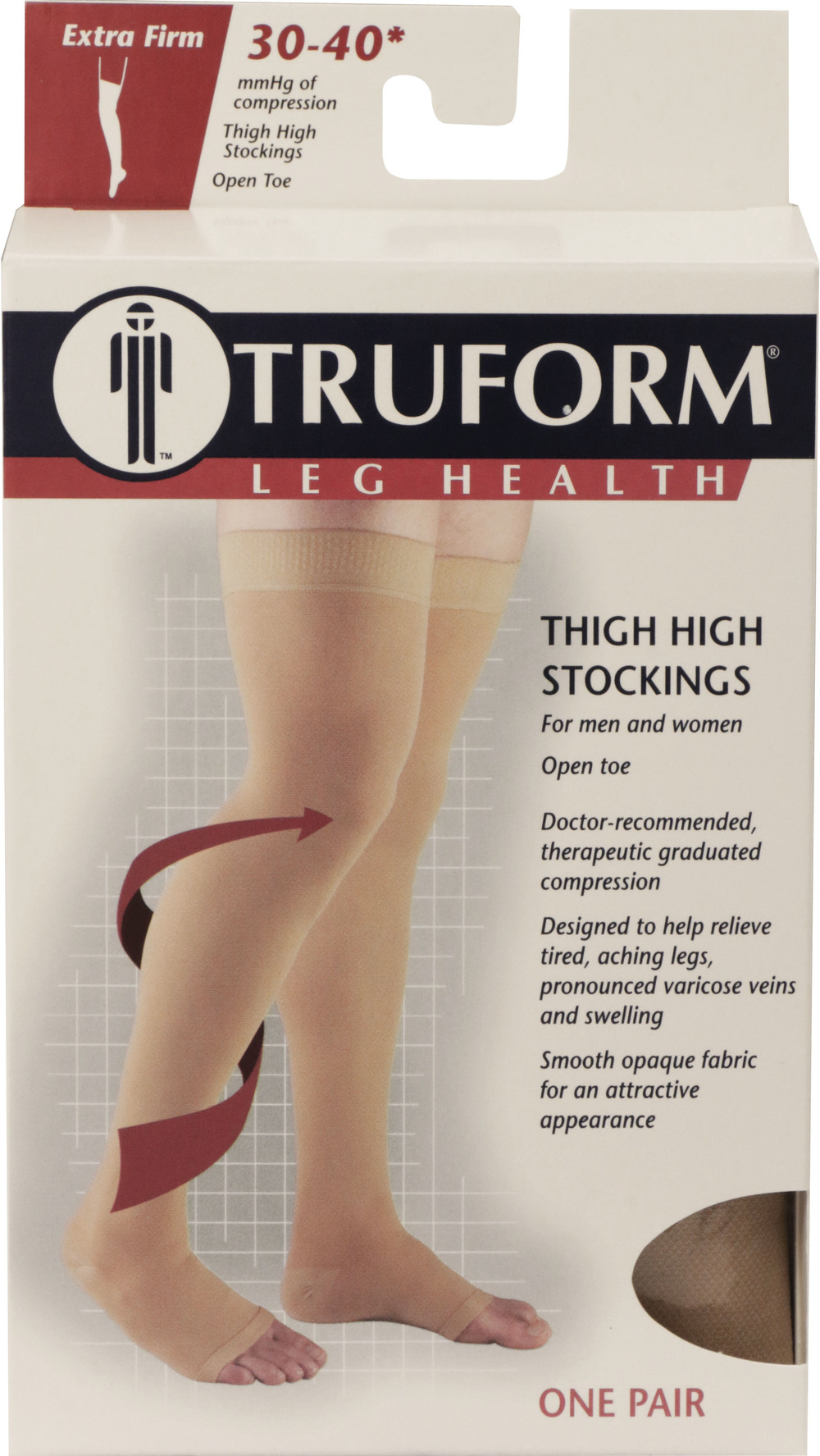 Truform, 0848, 30-40 mmHg, Thigh High, Silicone Dot Top, Open Toe, Package