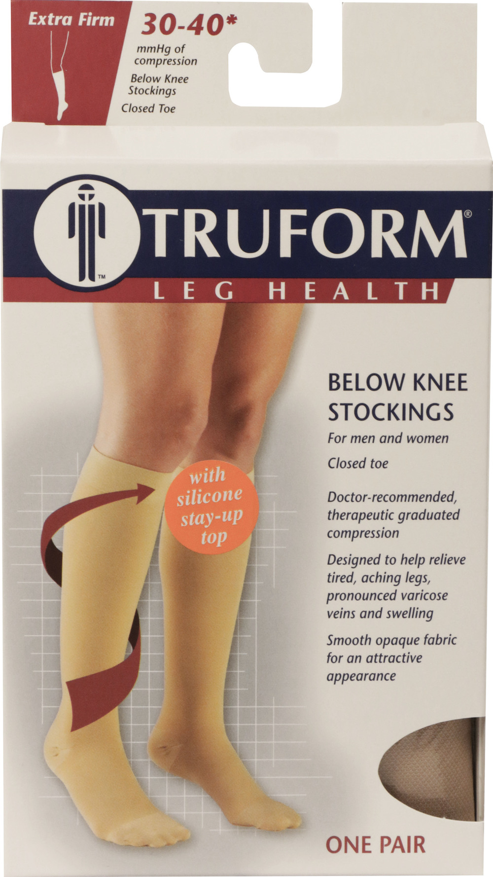 Truform, 0844, 30-40 mmHg, Knee High, Silicone Dot Top, Closed Toe, Package