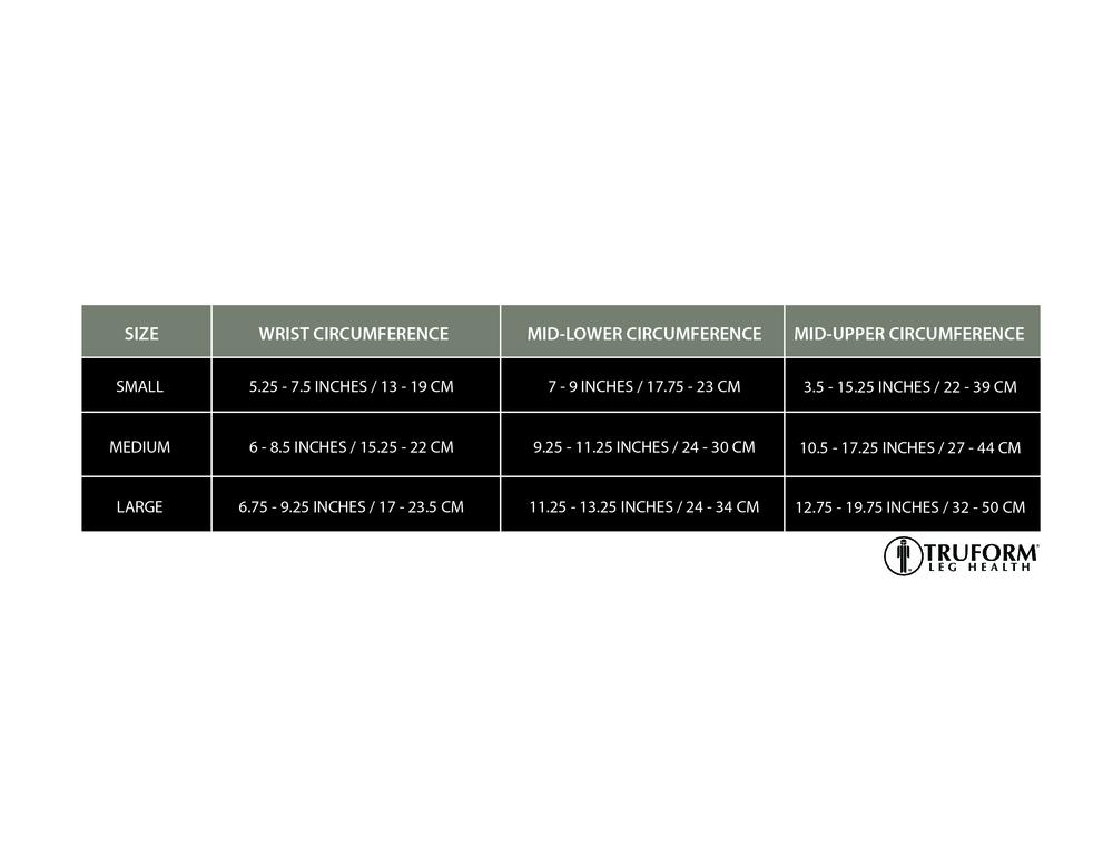 Truform, 3325, 20-30 mmHg, Ready-To-Wear, Arm Sleeve, Size Chart