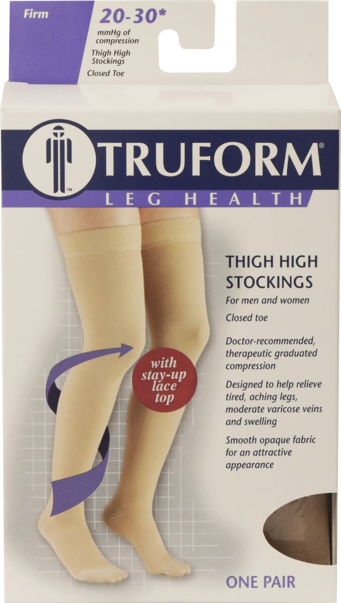 Truform, 8867, 20-30 mmHg, Thigh High, Silicone Lace Top, Closed Toe, Stockings, Package