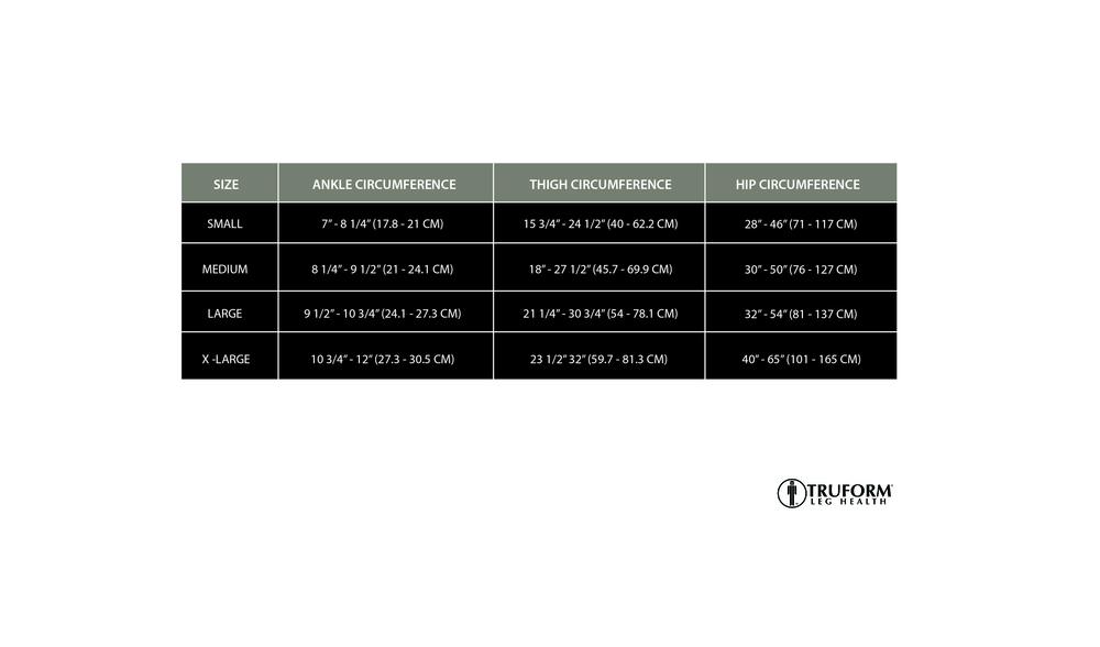 Truform, 0255, 30-40 mmHg, TRUSheer, Pantyhose, Size Chart
