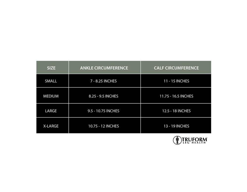 Truform, 0253, 30-40 mmHG, TruSheer, Knee High, Size Chart