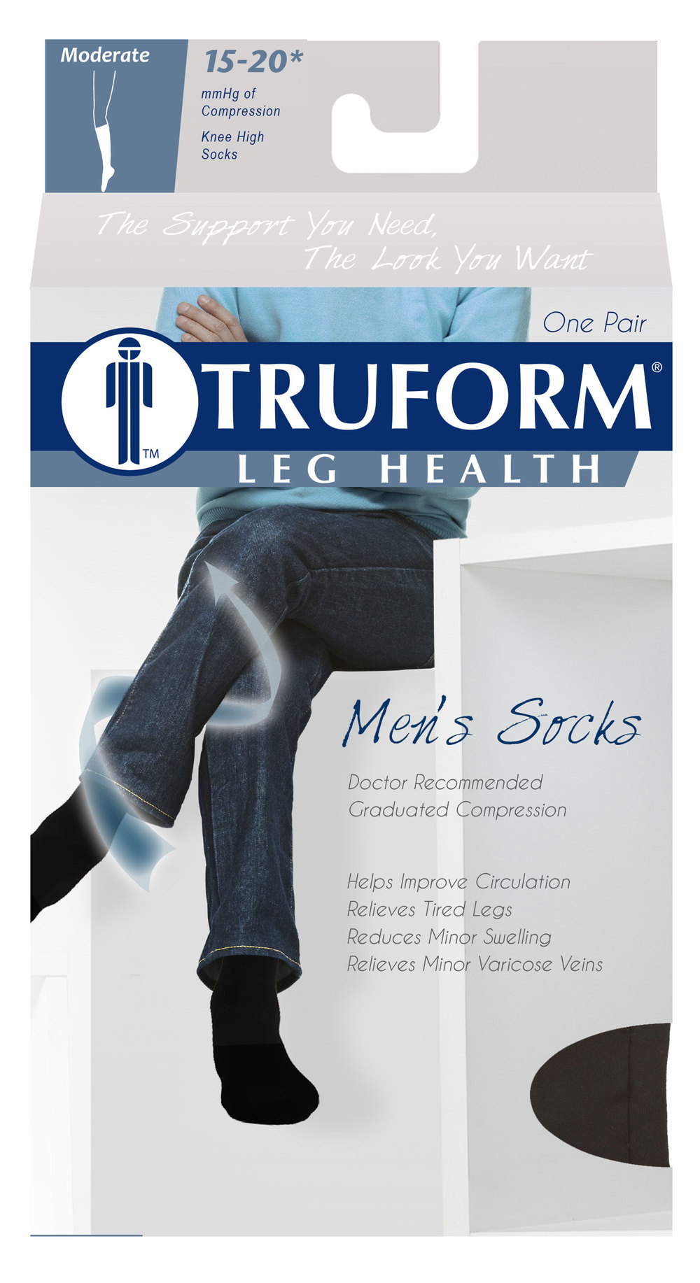 1933 / CUSHION-FOOT SUPPORT SOCK, KNEE HIGH / 15-20 MMHG PACKAGING IMAGE