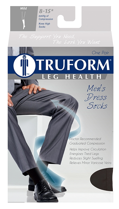 Truform, 1942, 8-15 mmHg, Compression, Men's, Knee High, Dress Sock, Package