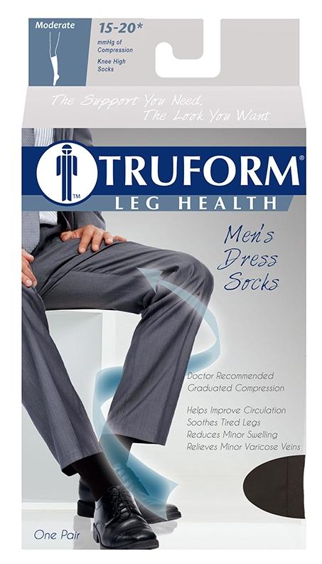 Truform, 1943, 15-20 mmHg, Compression, Men's, Knee High, Dress Sock, Package