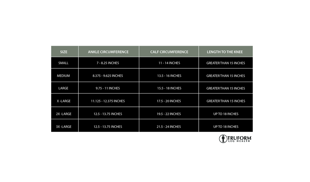 Truform, 8864, 20-30 mmHg, Silicone Dot Top, Closed Toe, Knee High, Stockings, Size Chart