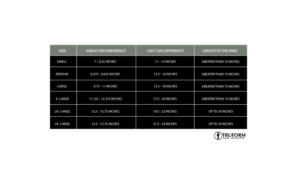 Truform, 0865, 20-30 mmHg, Soft Top, Open Toe, Knee High, Stockings, Size Chart
