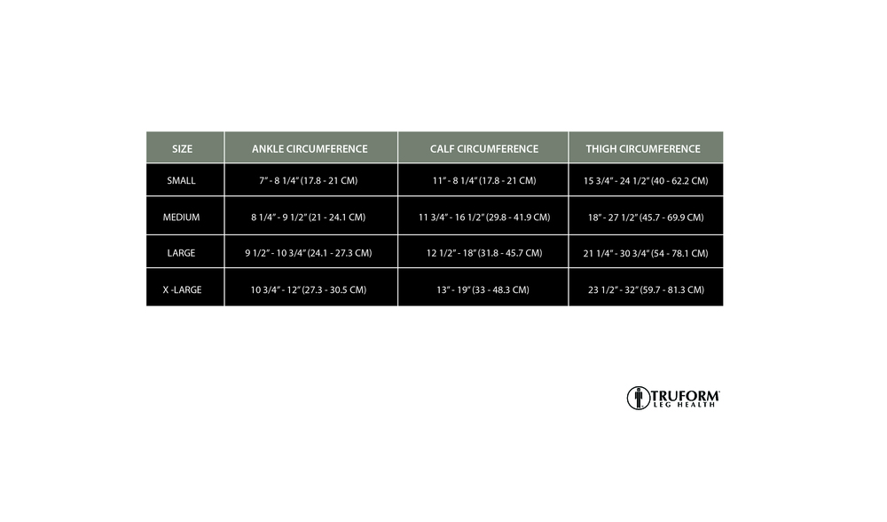 Truform, 0264, 20-30 mmHG, TRUSheer, Thigh High, Size Chart
