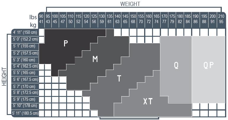 Truform, 1775, 15-20 mmHg, Sheer, Pantyhose, Size Chart
