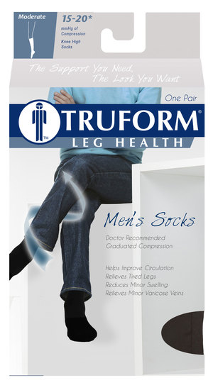 Truform, 1933, 15-20 mmHg, Compression, Cushion Foot Support Sock, Knee High, Package