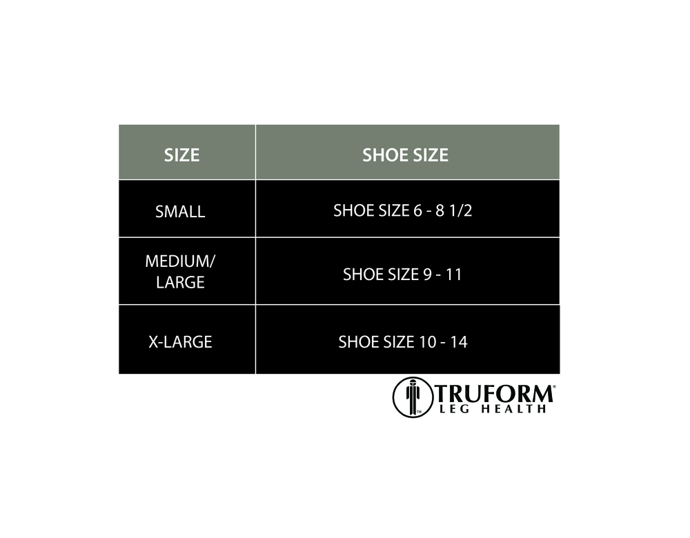 Truform, 1915, Comfort Care, Dress Socks, Size Chart