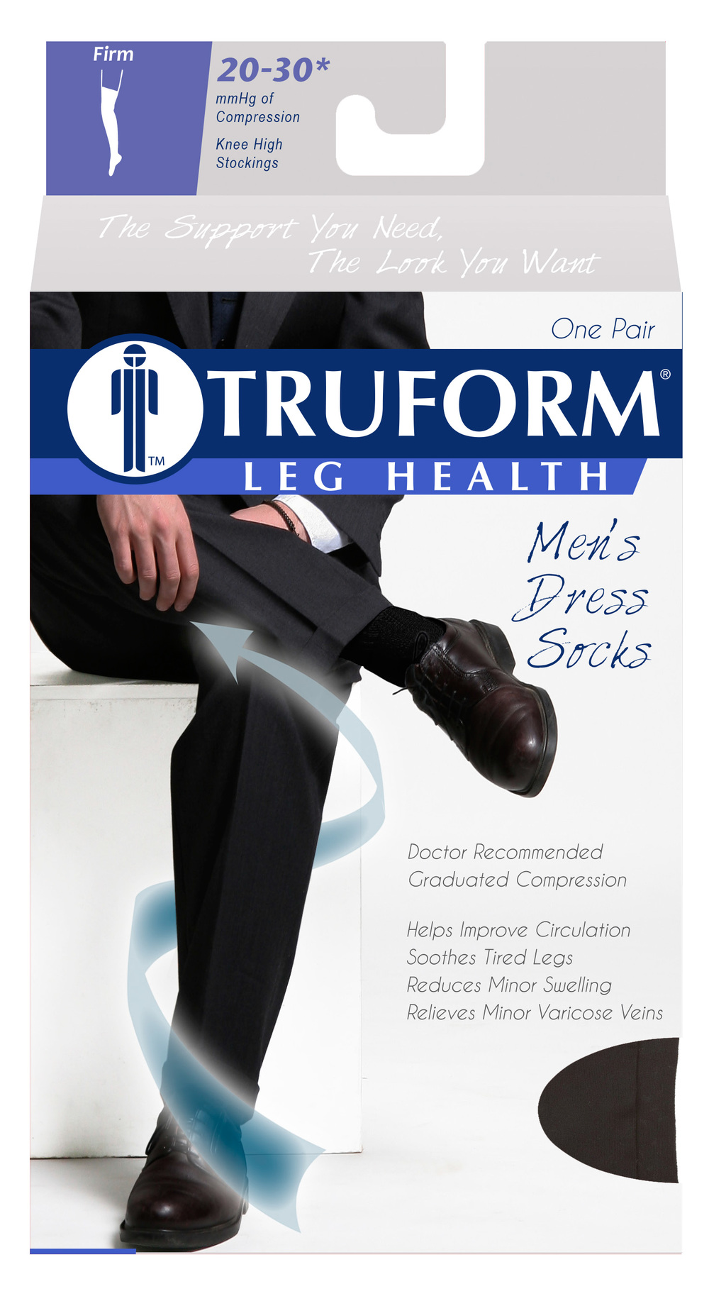 Truform, 1944, 20-30 mmHg, Compression, Men's, Knee High, Dress Sock, Package