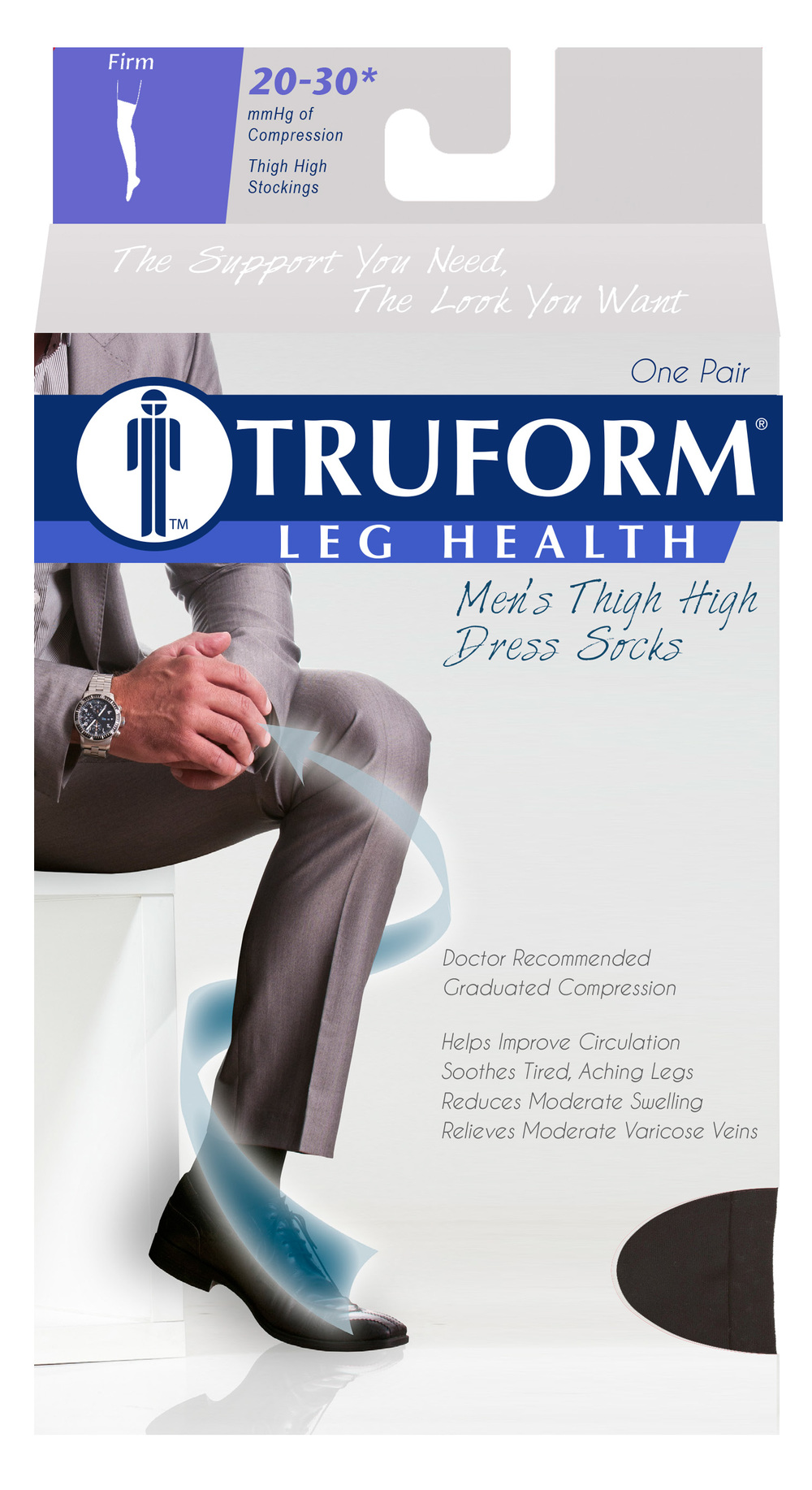 Truform, 1945, 20-30 mmHg, Compression, Men's, Thigh High, Dress Sock, Package