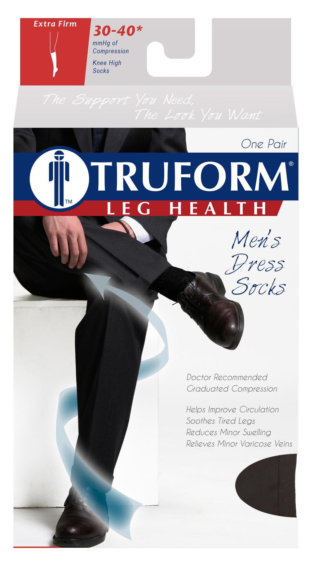 Truform, 1954, 30-40 mmHg, Compression, Men's, Knee High, Dress Sock, Package