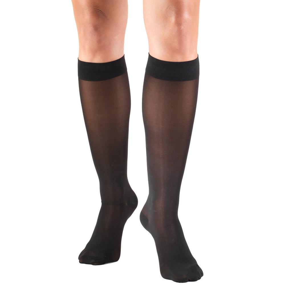 Truform, 0253, 30-40 mmHG, TruSheer, Knee High, Black, Compression Stockings