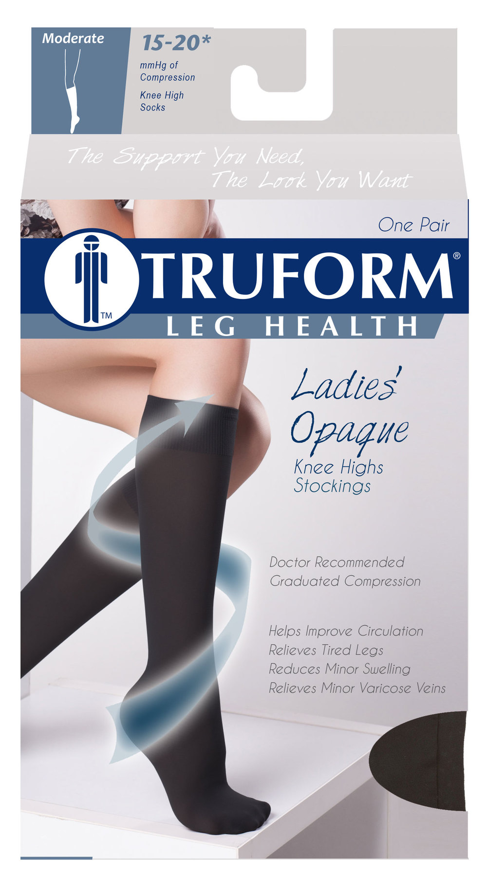 Truform, 0371, 15-20mmHg, Opaque, Knee High, Open Toe, Package