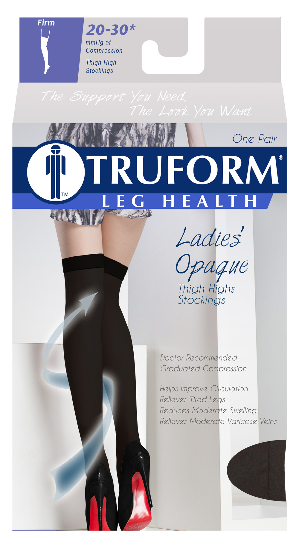 Truform, 0364, 20-30 mmHg, Opaque, Thigh High, Closed Toe, Package