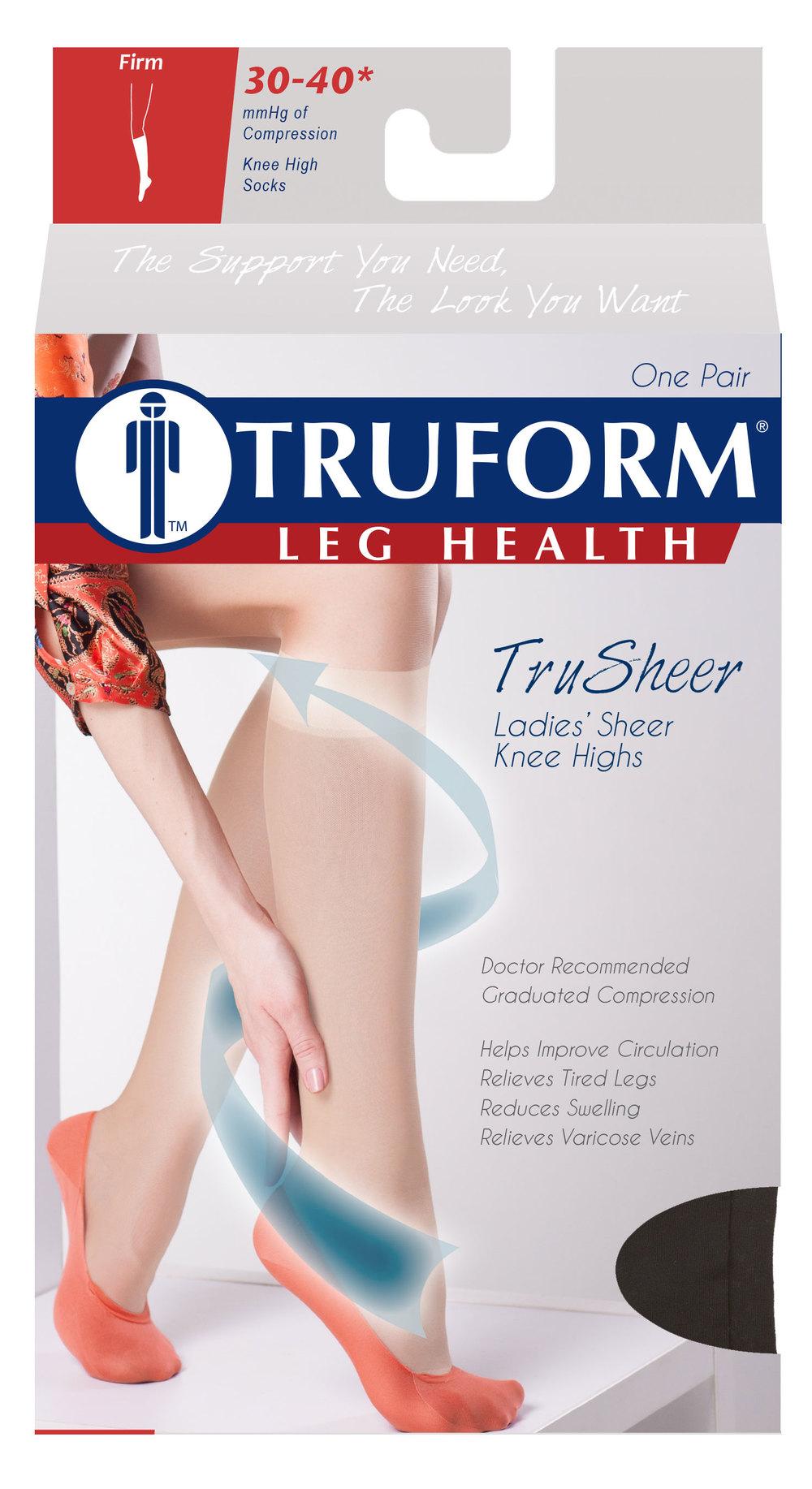 Truform, 0253, 30-40 mmHG, TruSheer, Knee High, Package