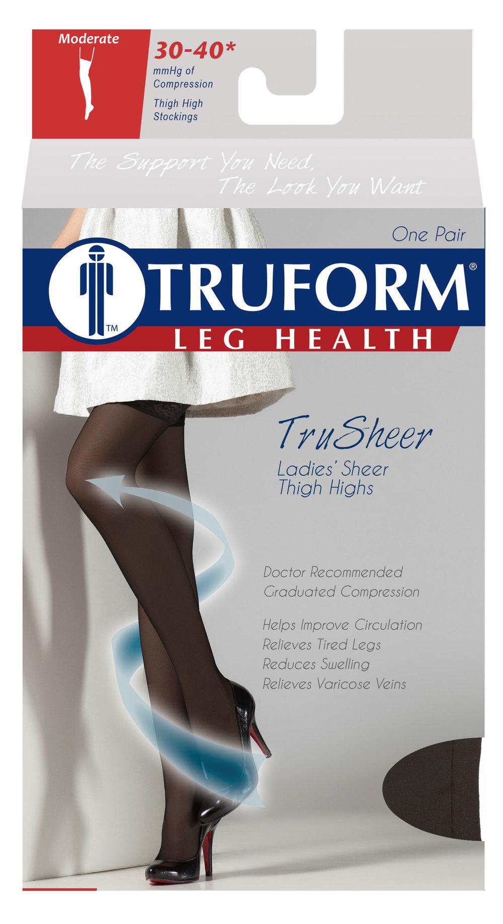 Truform, 0254, 30-40 mmHG, TRUSheer, Thigh High, Package