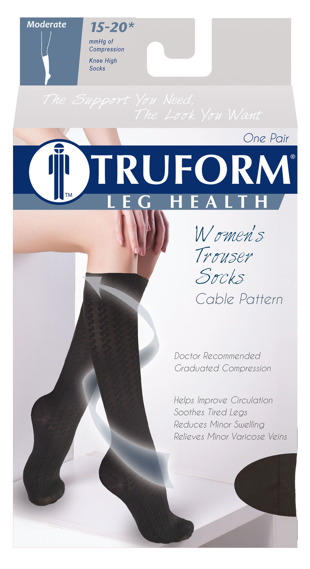 Truform, 1975, Compression, 15-20 mmHg, Cable Pattern, Package