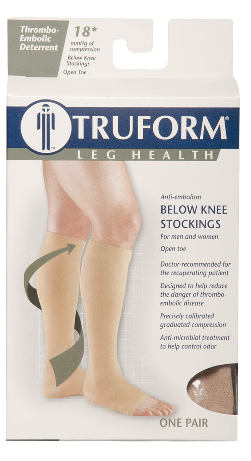 Truform, 0808, 18 mmHg, Anti-Embolism, Open Toe, Knee High, Stockings, Package