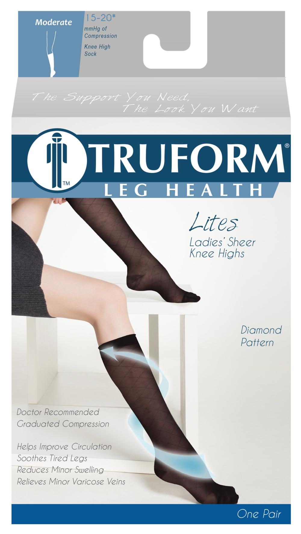 Truform, 1783, 15-20mmHg, Sheer, Diamond Pattern, Knee High, Package