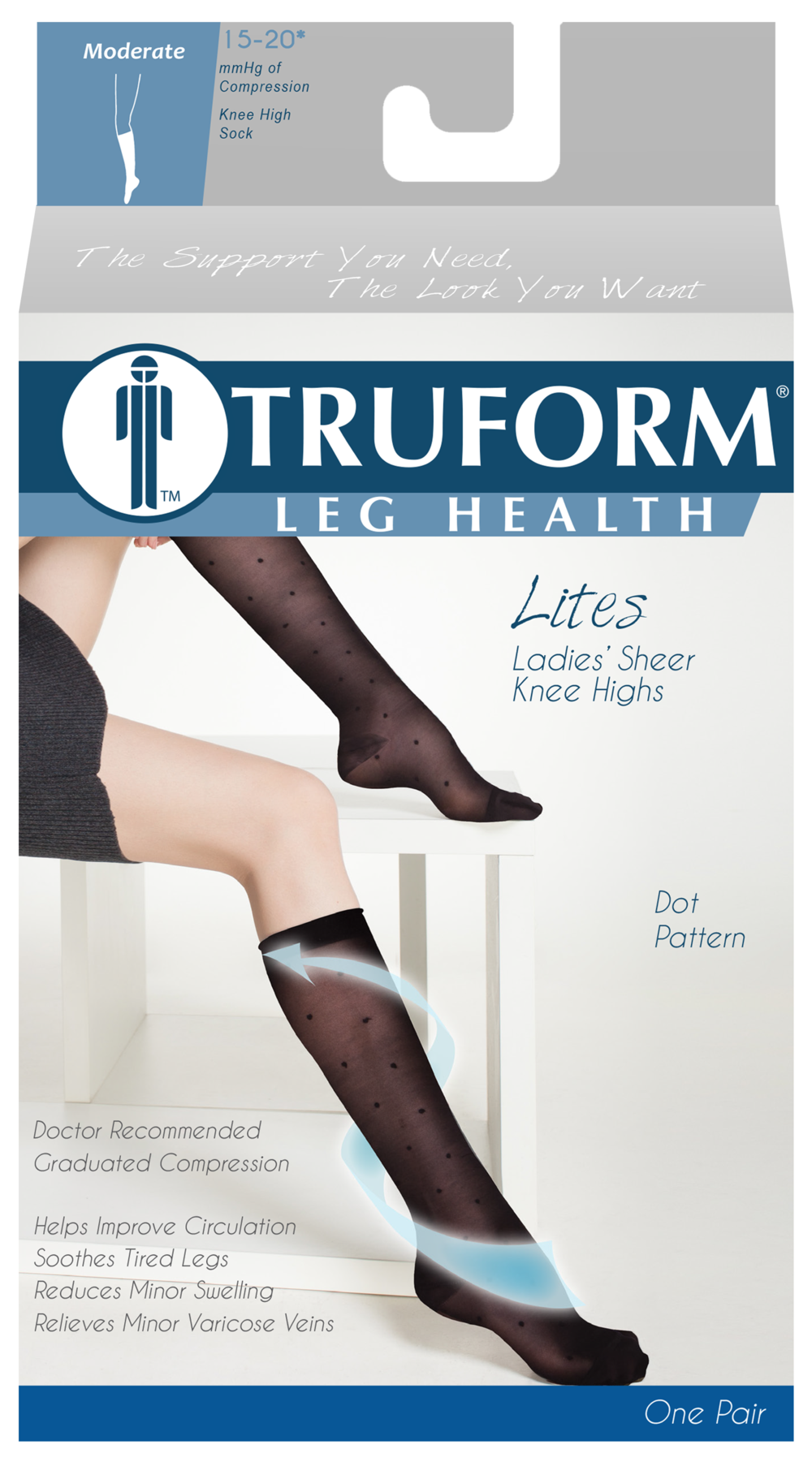 Truform, 1782, 15-20mmHg, Sheer, Dot Pattern, Knee High, Package