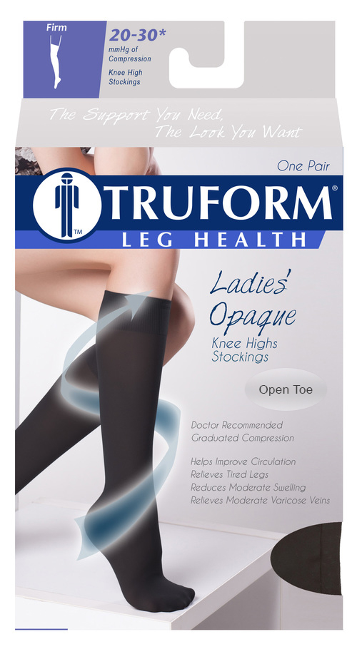Truform, 0362, 20-30 mmHg, Opaque, Thigh High, Open Toe, Package