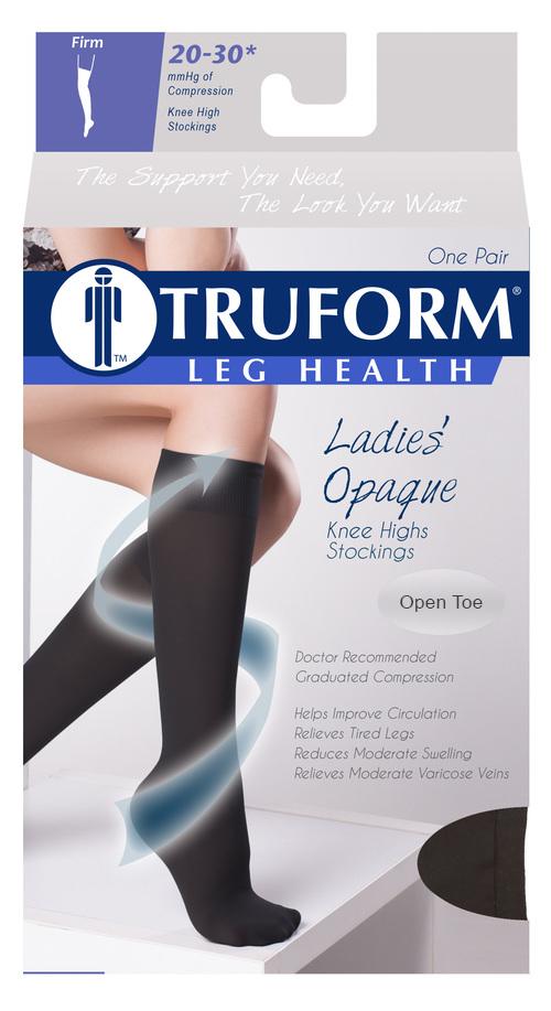 Truform, 0361, 20-30 mmHg, Opaque, Knee High, Open Toe, Package