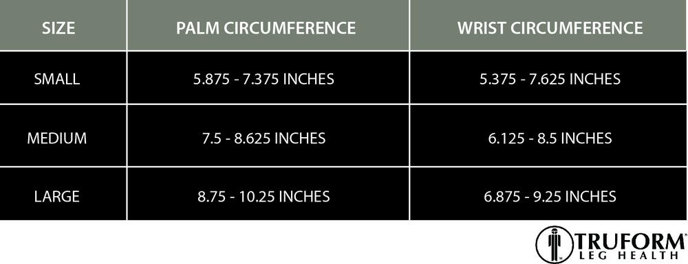 Truform, 3322, 20-30 mmHg, Ready-To-Wear, Gauntlet, Size Chart