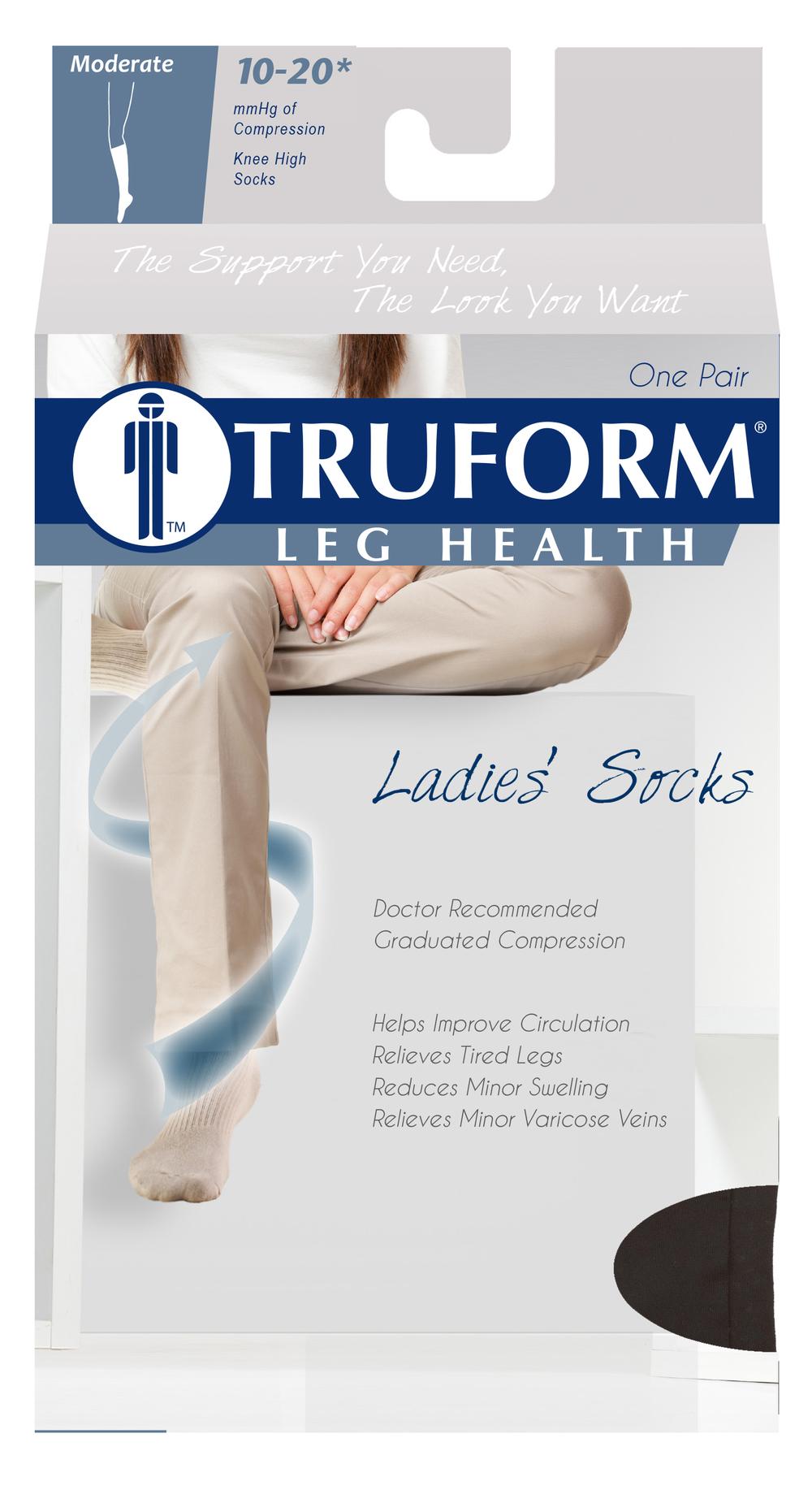 Truform, 1963, Compression, 10-20 mmHg, Women's Calf Length, Package