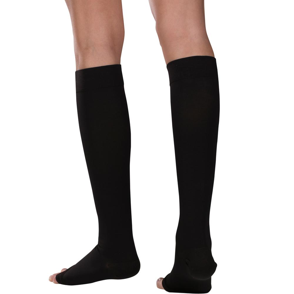 Truform, 0875, 15-20 mmHg, Soft Top, Open Toe, Knee High, Stockings, Black