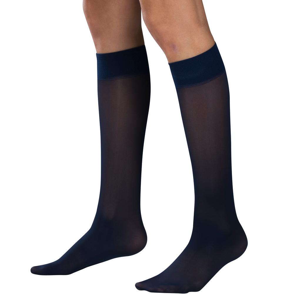 Truform, 1763, 8-15 mmHG, Sheer, Knee High, Black, Compression Stockings