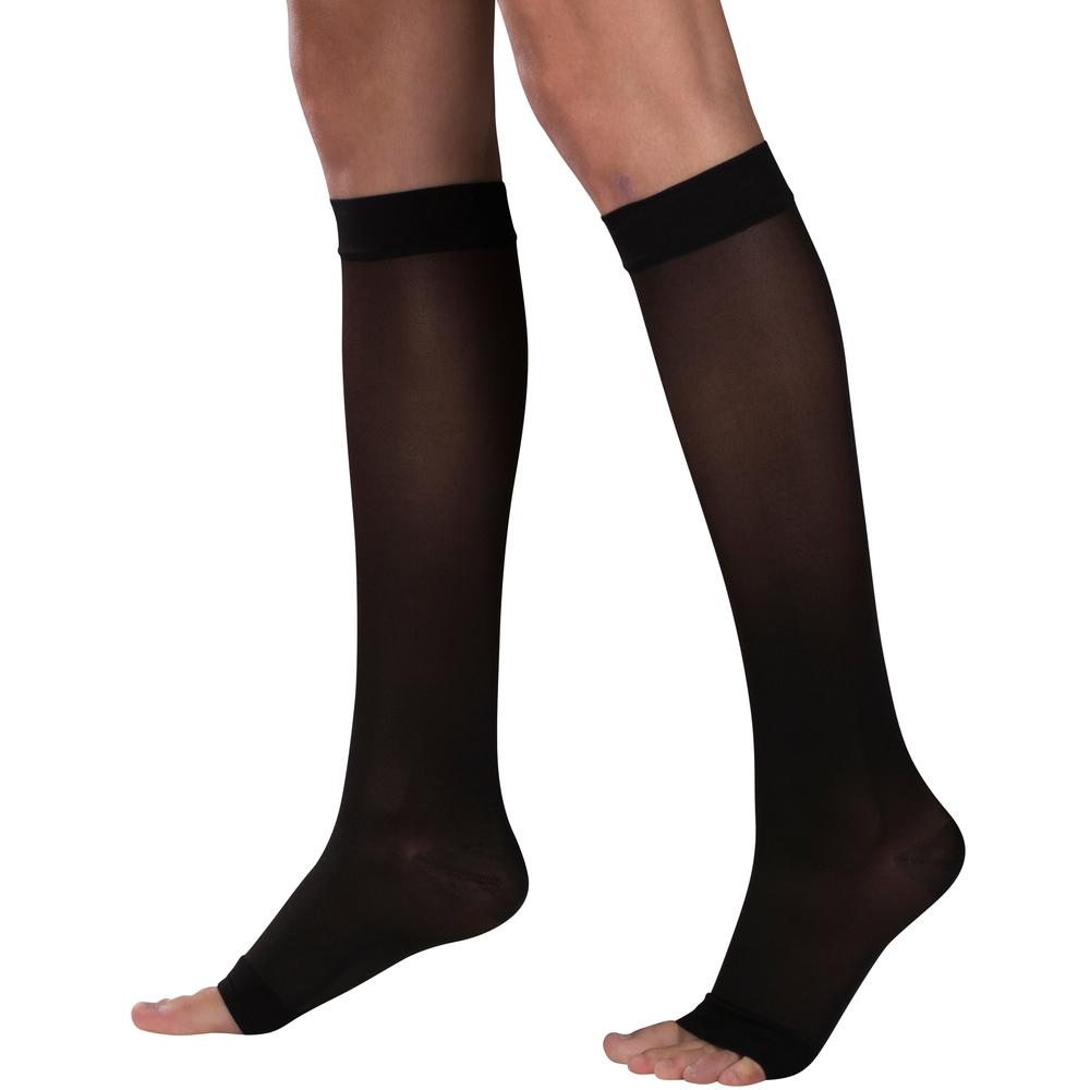 Truform, 1772, 15-20 mmHG, Lites, Knee High, Open Toe, Black, Compression Stockings