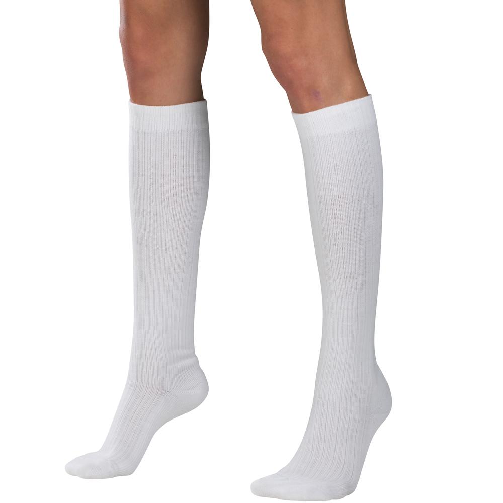 Truform, 1963, Compression, 10-20 mmHg, Women's Calf Length, Casual Sock, White