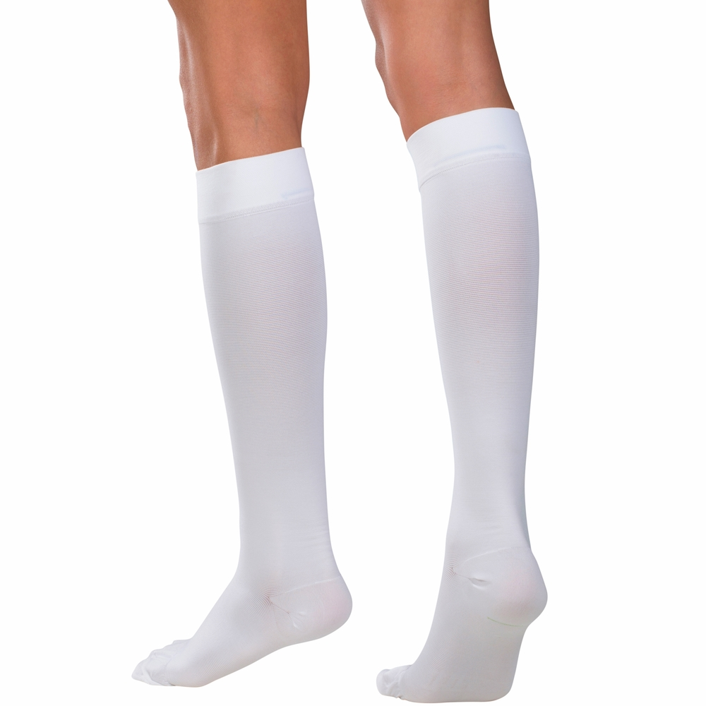 Truform, 8865, 20-30 mmHg, Soft Top, Closed Toe, Knee High, Stockings, White